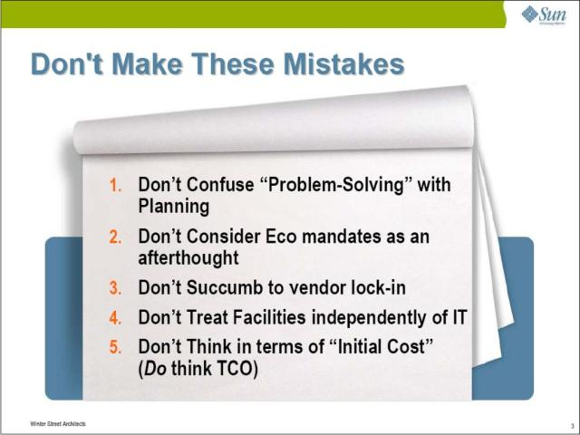 When coordinating your green datacenter design process, don't make these mistakes