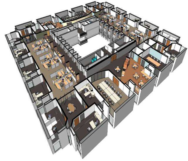 BIM, 3D view of the Countway Library Renovation at Harvard Medical School